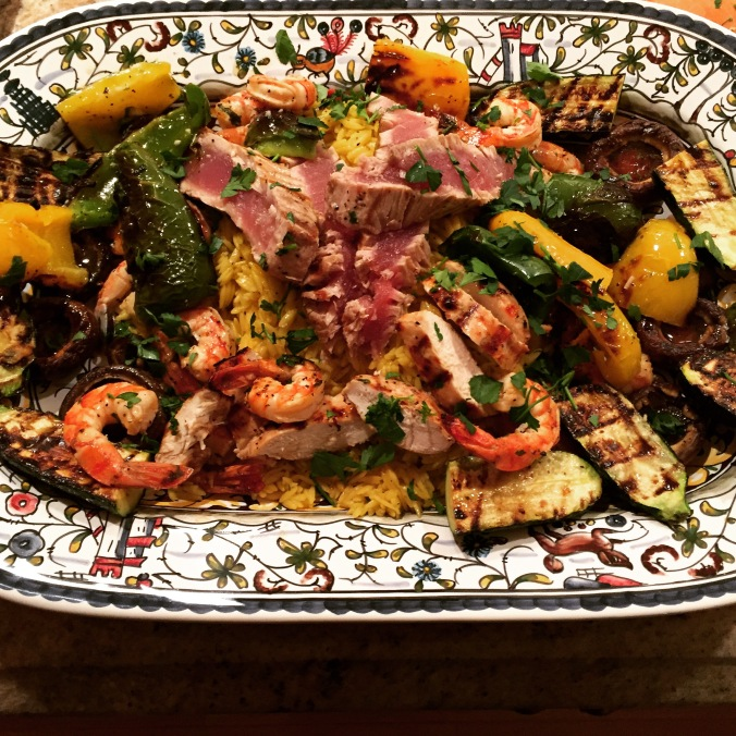 Grilled Fish and Vegetables over Saffron Orzo