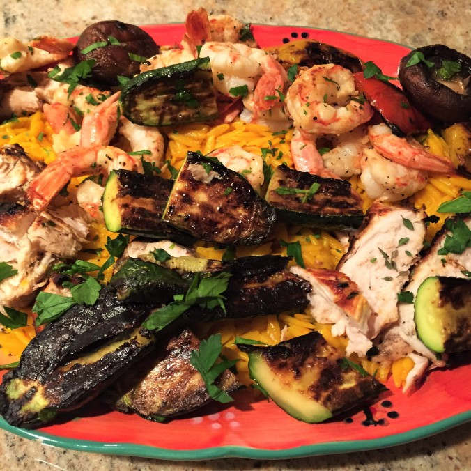Grilled Shrimp and Vegetables over Saffron Orzo