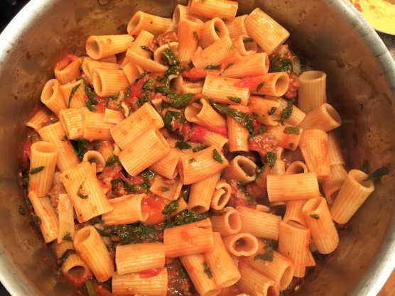 Rigatoni with Sausage and Rapini Red Sauce