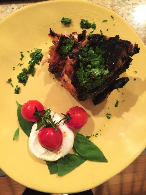 Chicken Chemuin and burrata with grilled cherry tomatoes