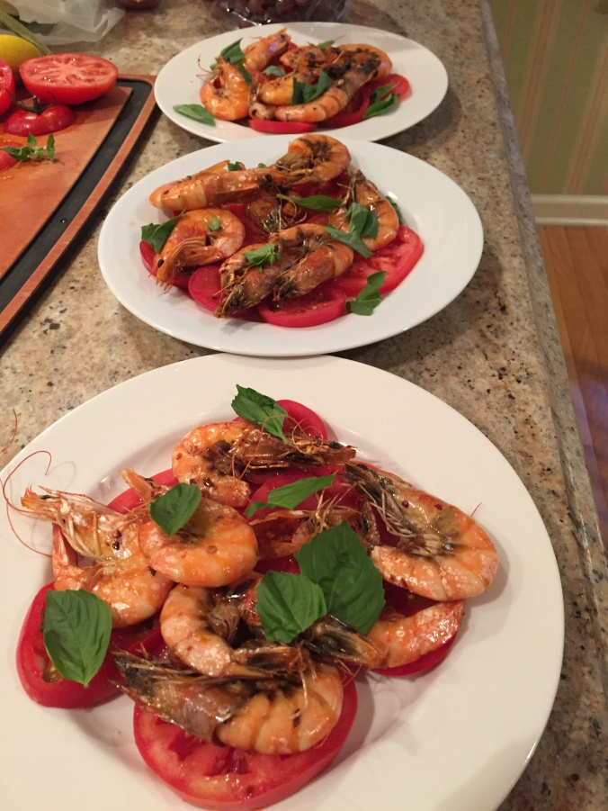 Grilled Shrimp with tomato salad