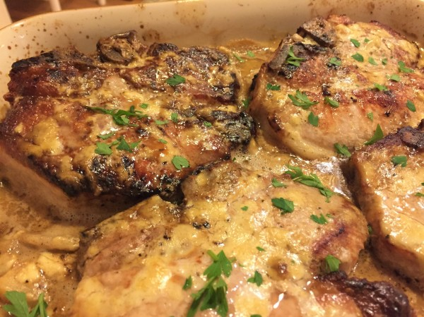 Pork Chops and Apples in Mustard Sauce