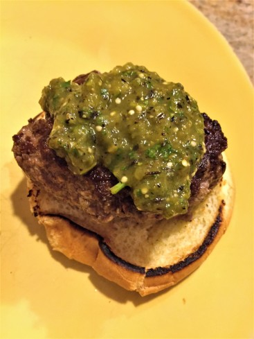 Iron skillet burger with tomatillo sauce