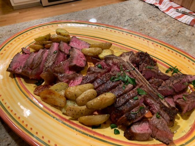 Steaks on Platter with Potatoes